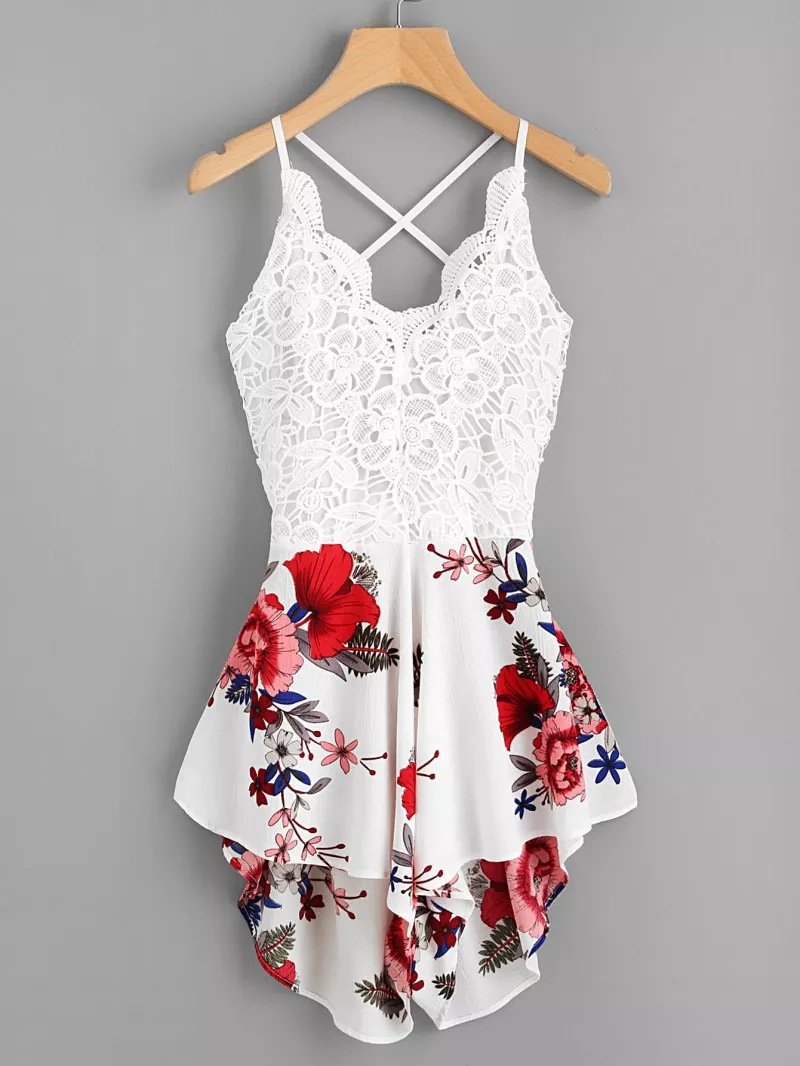 Women Summer Lace Panel Criss Cross Floral Cami Romper Beach   Jumpsuit   Sexy
