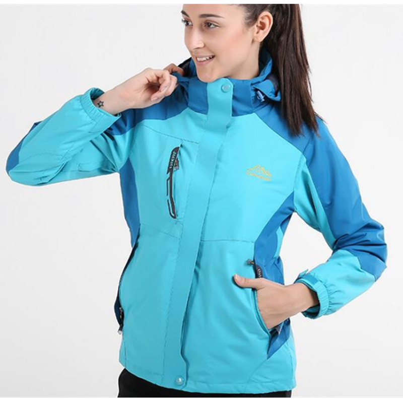 ФОТО New Brand Winter Women Men 3 in 1 Hiking Jackets Outdoor Waterproof Thermal Two-piece Coats For Travelling Skiing Climbing