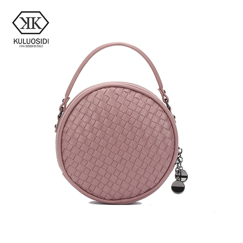 KULUOSIDI Women Circular Hand Bag Round Crossbody Bags For Ladies Shoulder Bag Cute Knitting Women Messenger Bags Small Zipper japanese pouch small hand carry green canvas heat preservation lunch box bag for men and women shopping mama bag