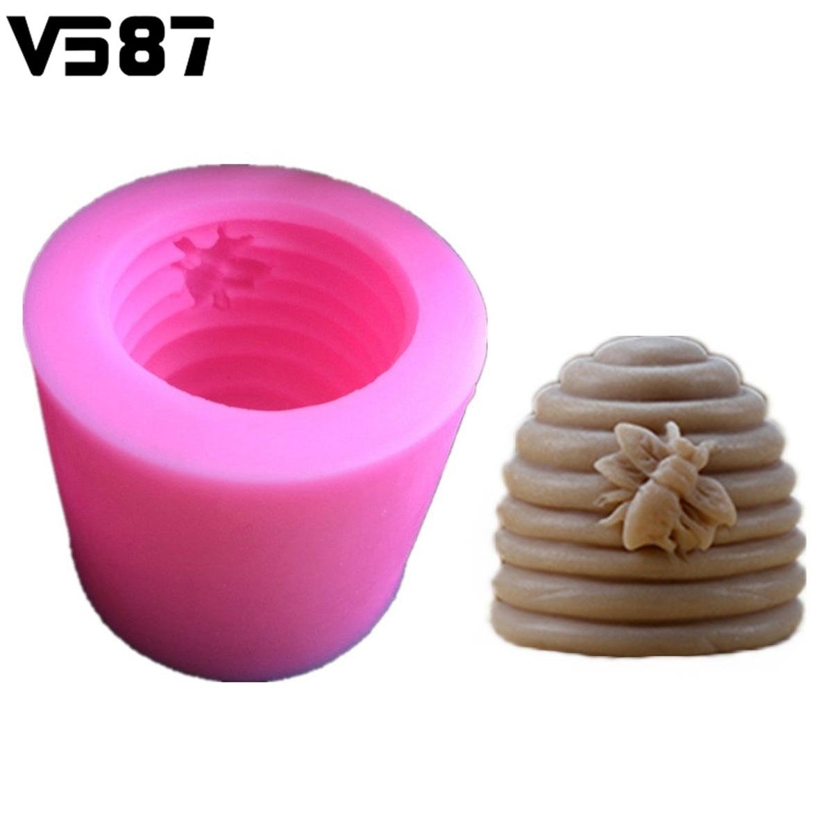 3D Bee Hive Tornillo Pastel Fondant Molde Hecho A Mano Jabón Vela Molde de Silic