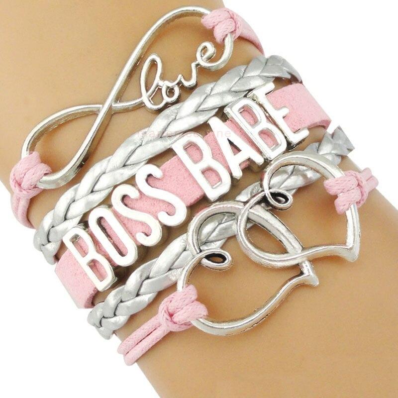 Boss Babe Mama Mom Girl Fortune Prosperity Thrive Charm Bracelets Women Men Black Pink Silver Jewelry Gift Many Styles Choose