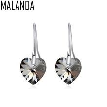 MALANDA Brand 2017 Fashoin Dangle Earrings For Women Heart Crystal From Swarovski Fashion Wedding Drop Earrings Jewelry Gift