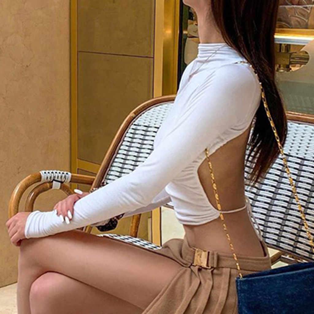 Sexy Bông Tai Kẹp Hở Lưng Áo Thun Dài Tay Crop Áo Nữ Áo Thun Mùa Hè Cổ Áo Trắng Thời Trang 2020