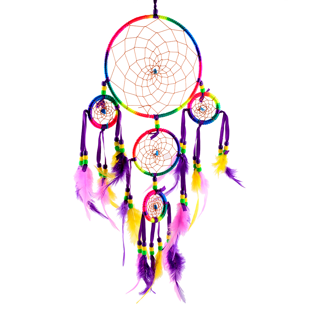 Color art dreamcatcher - Indian Feather Handmade Rainbow Color Ornament Feather 5 Circle Bell Dream Catcher Wall Hanging Decoration For