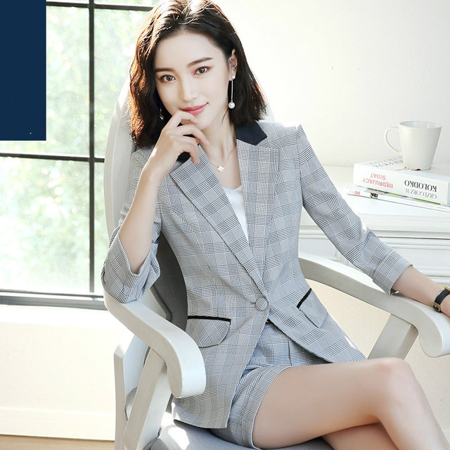 3fdee3dcc6045 Fashion Plaid Striped Suit Jacket Female Summer Slim Thin Korean OL Casual  Blazer Professional Women Business