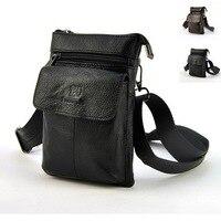 Retro Genuine Leather Mens Waist Bag Travel Fanny Pack Belt Loops Hip Bum Shoulder Cross Body