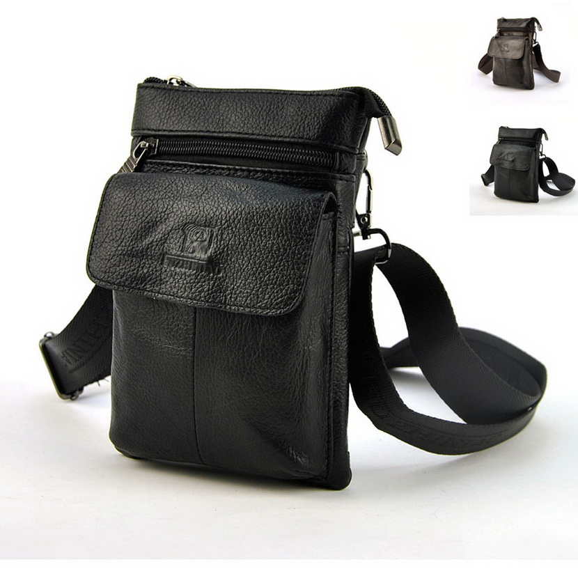 Retro Genuine Leather Mens Waist Bag Travel Fanny Pack Belt Loops Hip Bum Shoulder Cross Body