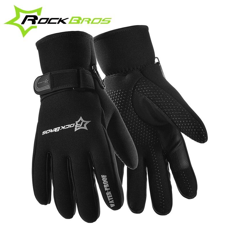 ROCKBROS Winter Bicycle Warm Full Finger font b Gloves b font Road MTB Bike Bicycle Fleece