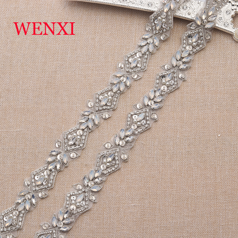 WENXI 1YARD Handmade Sew On Bridal Sash Proteins Beads Rhinestone Appliques Trim For Wedding Dresses Belt Accessory WX912