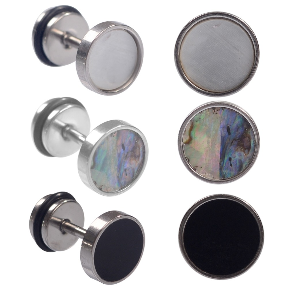 2pcs 18G Stainless Steel Cheater Faux Fake Ear Plugs Flesh Tunnel Gauges Tapers Stretcher Earring Piercing Jewelry 3 Colors