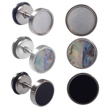 2pcs 18G Stainless Steel Cheater Faux Fake Ear Plugs Flesh Tunnel Gauges Tapers Stretcher Earring Piercing Jewelry 3 Colors 2pc white black stainless steel cheater faux fake ear plugs flesh tunnel gauges tapers stretcher earring