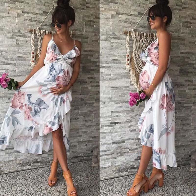 Summer Elegant Beach Maternity Dress Floral Printed Suspender Off Shoulder Maxi Dress For Pregnant Women Gravidas Vestidos 2018 stylish printed loose fitting maxi skirt for women