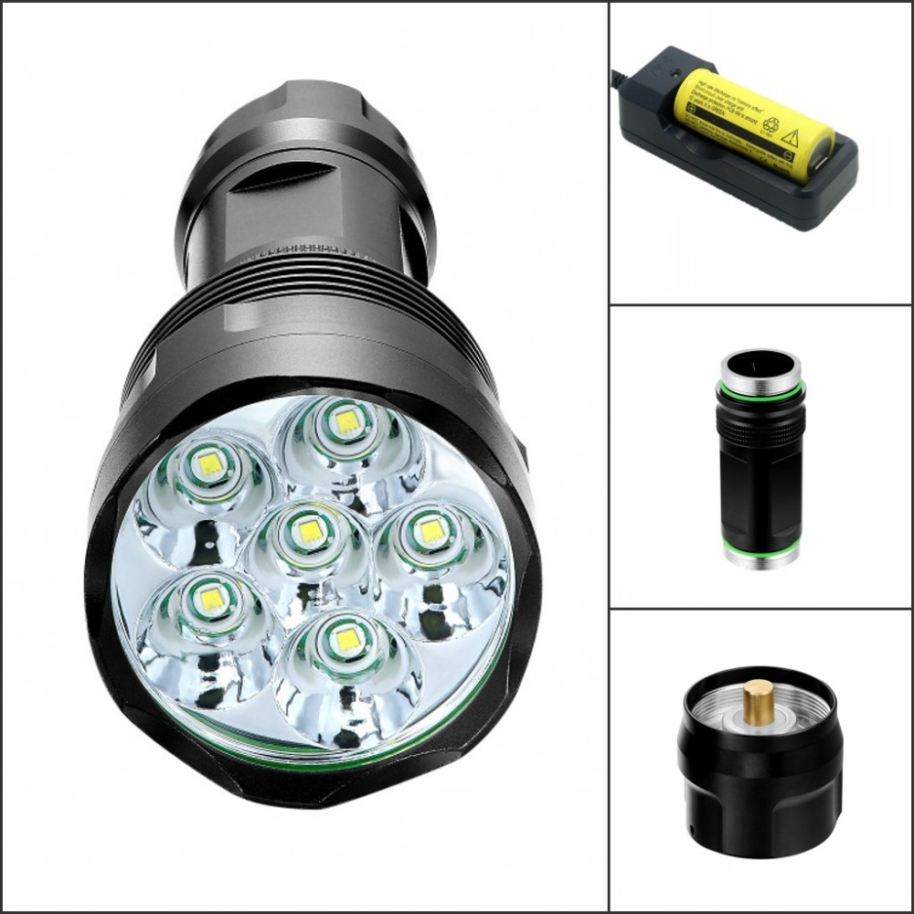 Tinhofire T6 7000 Lumens 6T6 6 x CREE XM-L XML T6 LED Flashlight Head Torch 18650/26650 Lanterna Lantern Flash Light фонарик oem 13800 12 x cree xm l t6 18650 3 x 26650 jnc fl12t6