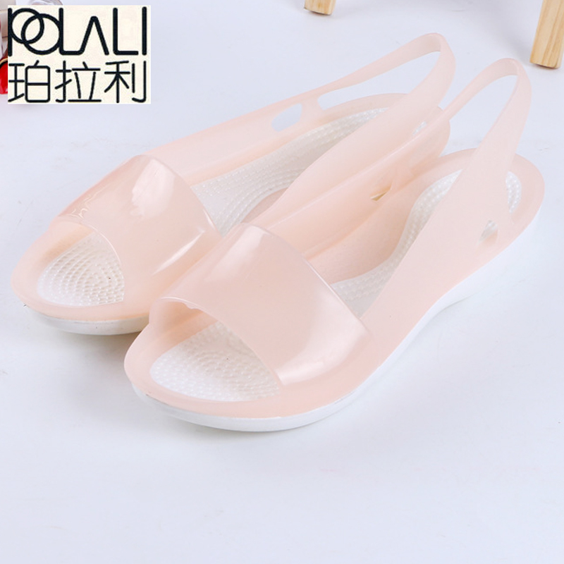 POLALI Women Sandals Colorful Women Shoes Peep Toe Stappy Beach Rainbow Croc Jelly Shoes Woman Summer Shoes ST236