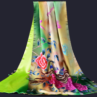 Ladies 100% Real Silk Scarf 2019 New Luxury Print Shawls and Wraps for Women Foulard Femme Scarf Silk Natural Pure Silk Scarves