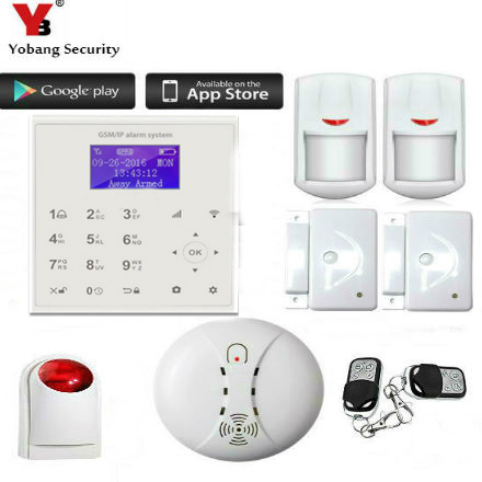 YobangSecurity Home Security Android IOS APP WIFI GSM GPRS Alarm System with PIR Motion Sensor Wireless Siren Smoke Detector fuers wifi gsm sms home alarm system security alarm new wireless pet friendly pir motion detector waterproof strobe siren
