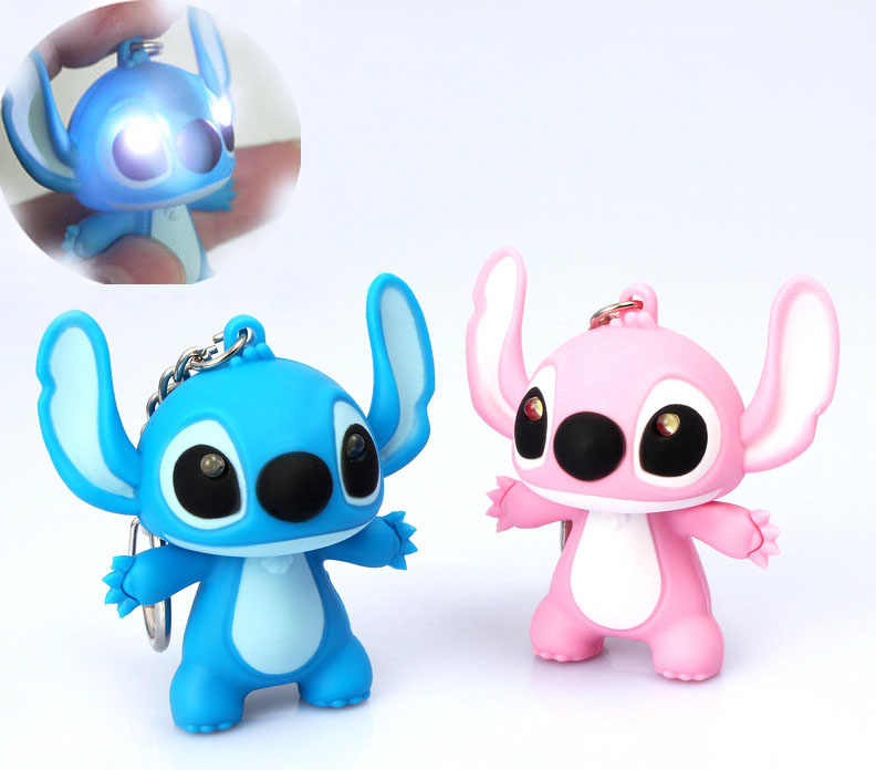 2pc Type Lilo Stitch LED Keyring Cute Figure Keychain Pendant Toy Kids Xmas Gift