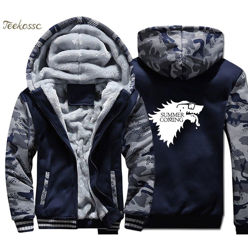 Game of Thrones Hoodie Men Summer Coming Hooded Sweatshirt Coat 2018 Winter Warm Fleece Thick High Quality Mens TV Show Jacket