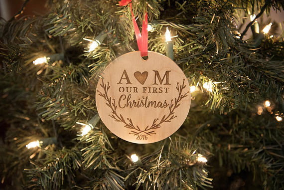 Us 7 64 15 Off Our First Christmas Ornament Personalized Christmas Ornament Mr And Mrs Ornament Wedding Gift In Pendant Drop Ornaments From