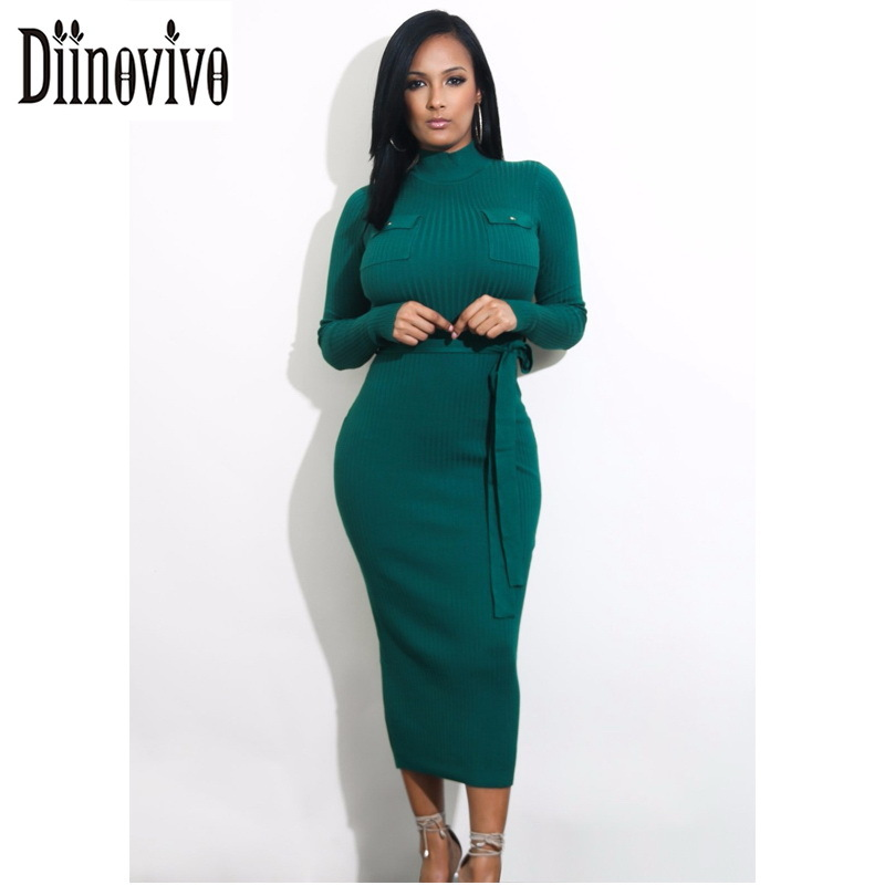 High Neck Femme Knitted Sexy Dress With Pocket Long Sleeve Belted Ribbed Bodycon Sweater Dresses Women