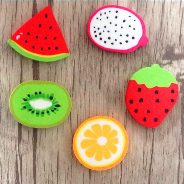 2pcs/lot Sweet Fruit Design Pencils Rubber Erasers For Kids Gifts Non-toxic Safe Gomas De Borrar School SupplY Material Escolar