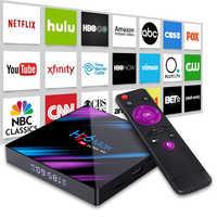 Conjunto superior tv caixa 4g ddr3 usb 3.0 bluetooth 4.0 android 9.0 9 os 4 k 4096x2160 h96 inteligente penta-core mali-450 rk3318 gpu 2.4g/5g