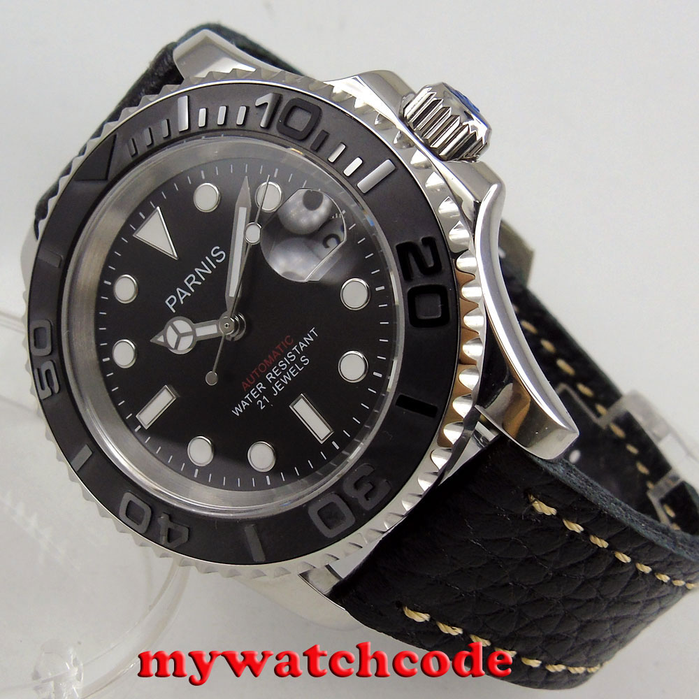 41mm Parnis black dial Sapphire glass 21 jewels miyota 8215 automatic mens watch 41mm corgeut black dial sapphire glass 21 jewels miyota automatic mens watch c14