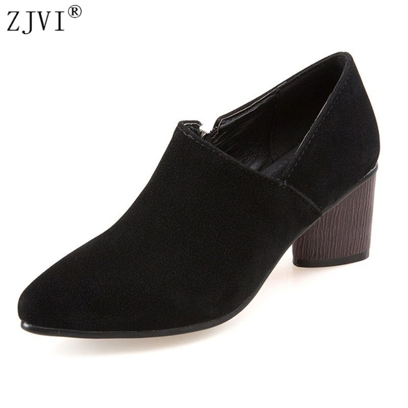 ZJVI woman pointed toe Thick high heels pumps 2018 women spring autumn work shoes ladies womens female nubuck suede casual shoes siketu 2017 free shipping spring and autumn women shoes fashion sex high heels shoes red wedding shoes pumps g107