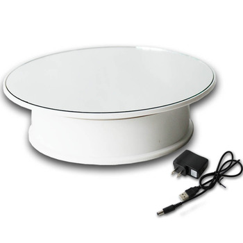 Newest 8 inches mirror 360 degrees Rotating Rotary Display Stand turntable jewelry display base- Include Ac Plug (Double Power)