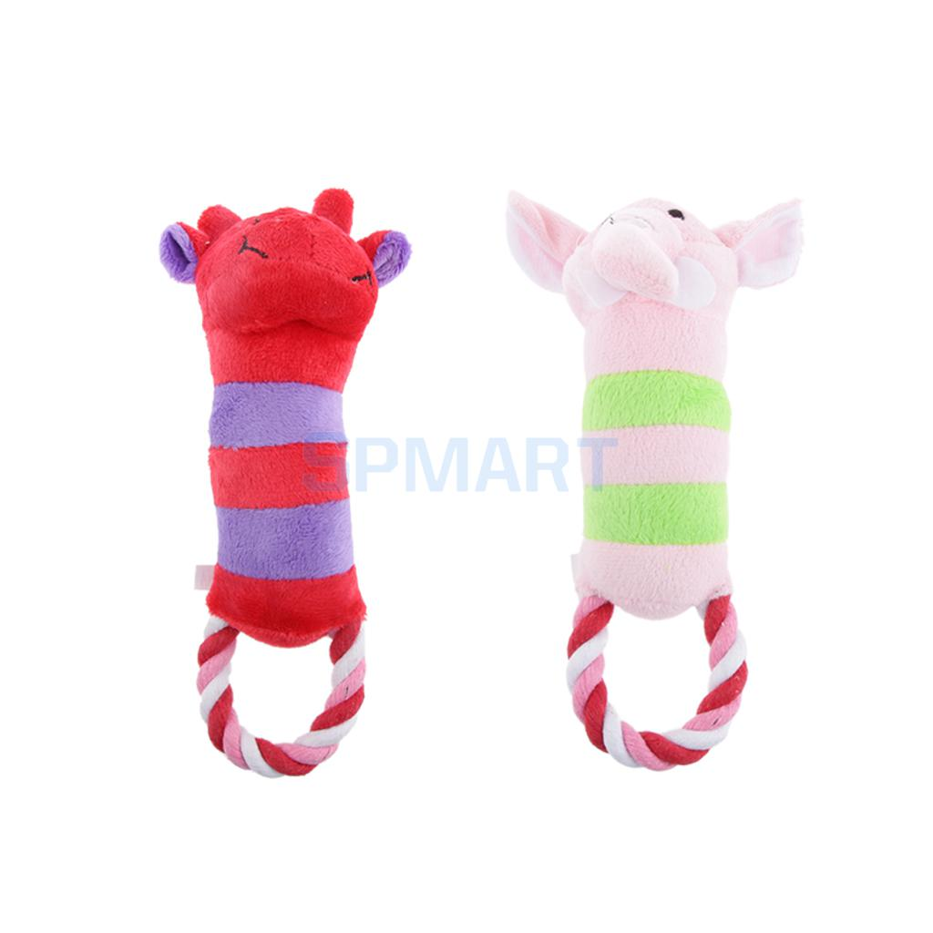 Pet Dog Puppy Play Soft Plush Cotton Rope Cattle Elephant Squeaker Squeaky Sound Chew Toys