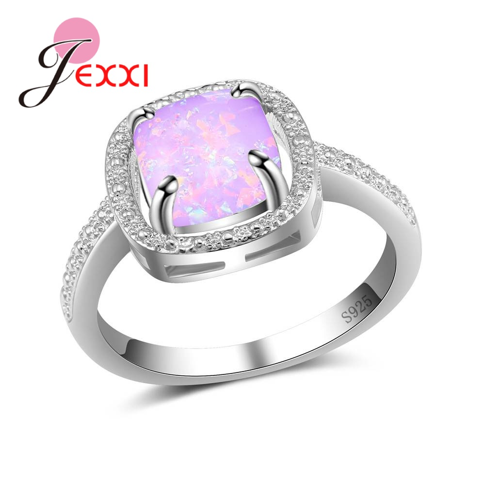 JEXXI New Arrival Romantic Gift Wonderful Women Rings Pave Top Quality Opal Stone 925 Sterling Silver Jewelry Accessories