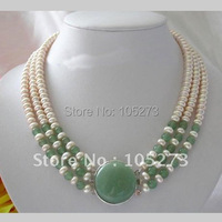 Stunning 3Rows AA7 8MM Round White Freshwater Pearl Necklace Pearl Jewelry Nice For Gift New Free Shipping