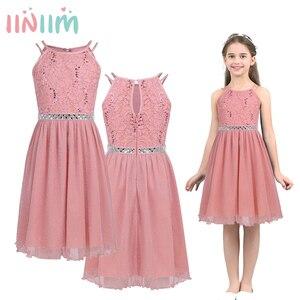 Image 1 - Iiniim adolescente meninas vestido, sem mangas lantejoulas rendas floral vestido brilhante vestido de festa para capina formal da festa de aniversário vestidos de verão