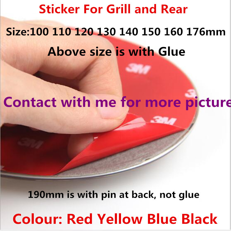 1pc New Car Styling 3D ABS Black Red Blue Yellow Front Grill Hood Rear Boot Badge Emblem Auto Sticker