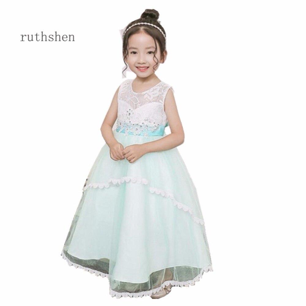 Ruthshen 2018 New Flower Girl Dresses Butterfly Light Blue Pink Real