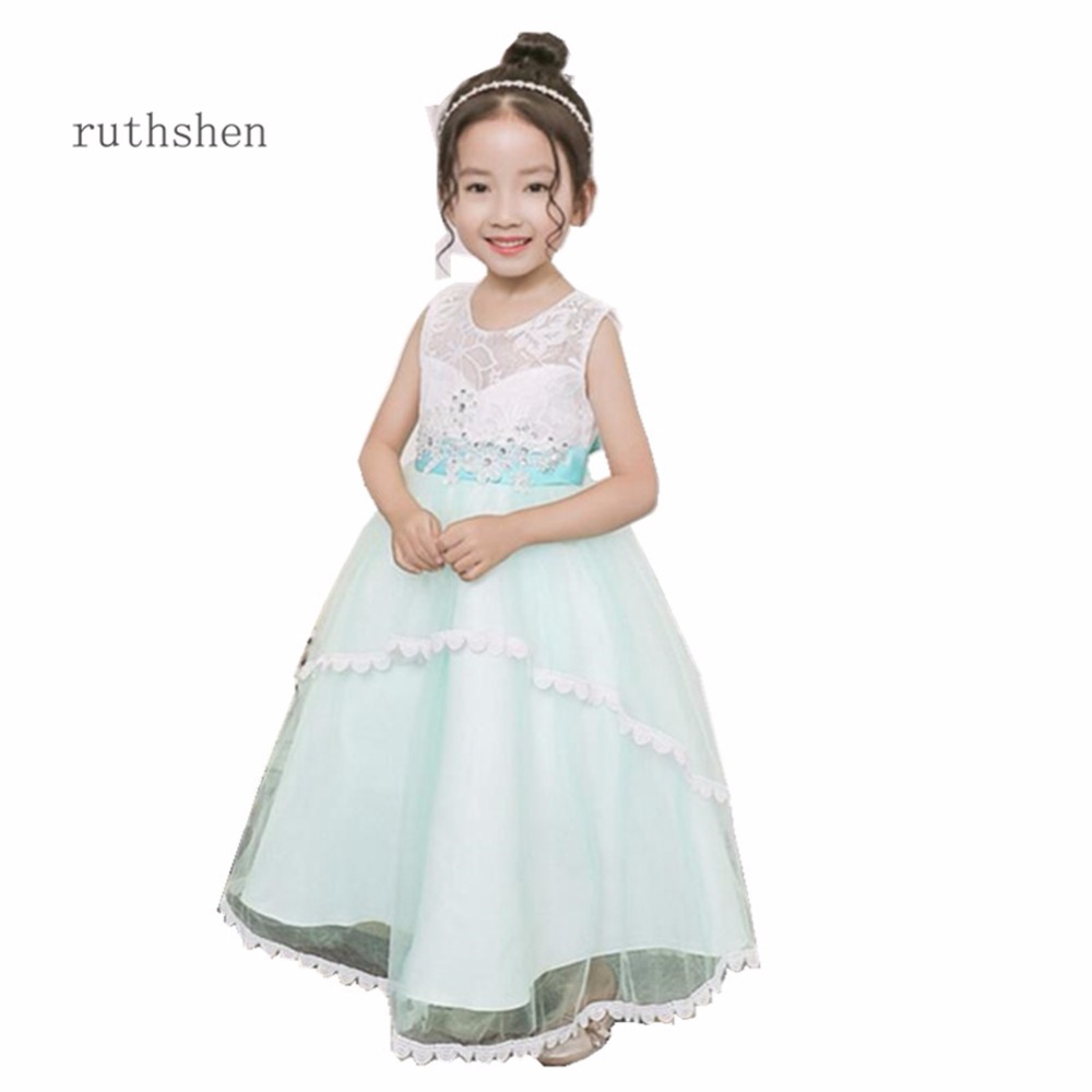 ruthshen 2018 New   Flower     Girl     Dresses   Butterfly Light Blue Pink Real Photo Pageant Gowns For   Girls   Weddings Kids Prom   Dresses