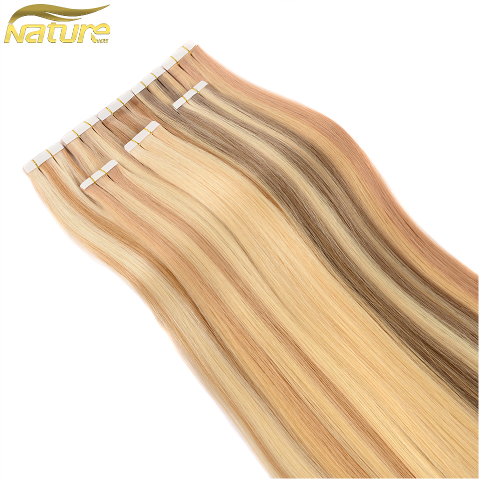 Naturehere Remy Tape In Human Hair Extensions Straight Salon Tape