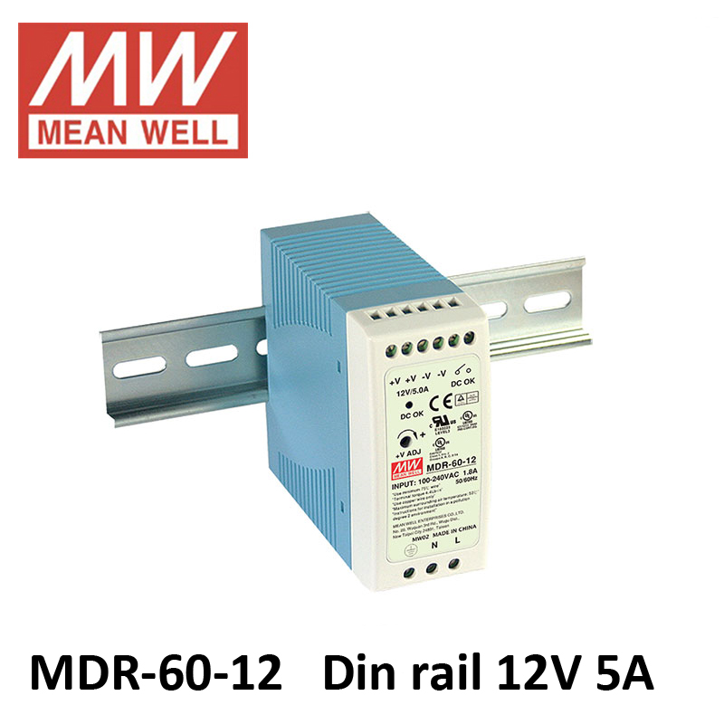 Meanwell MDR-60w 5 V 12 V 24 V 48 V din rail interrupteur alimentation entrée ac 85 ~ 264 v dc 12 v 5a din rail interrupteur alimentation 24 V 2.5A DR