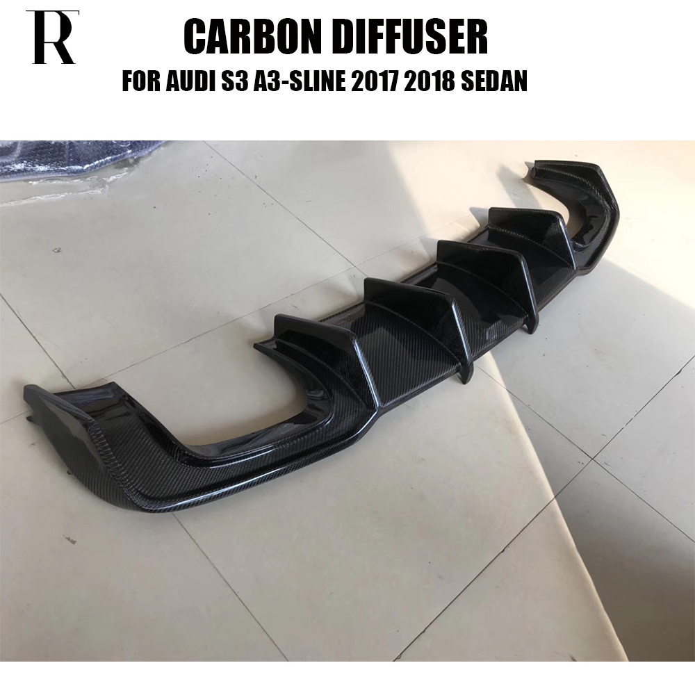 S3 K Стиль углеродного волокна заднего бампера Диффузор для Audi A3 Sline & S3 бампер седан 4 DR 2017 2018 2019