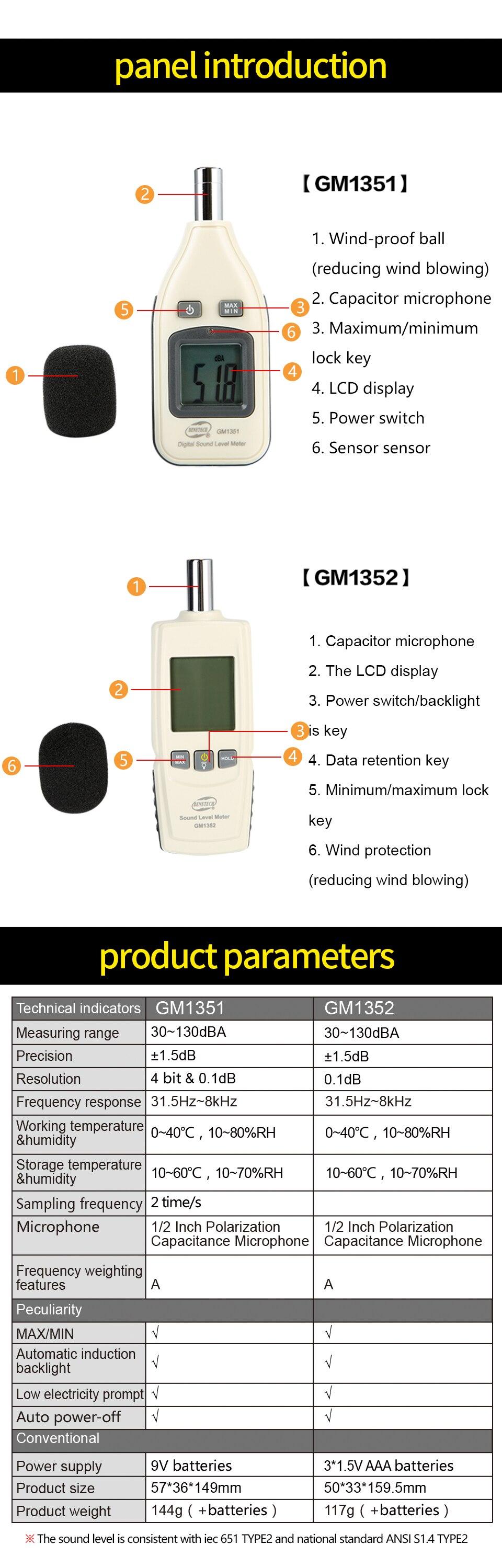 Цифровой измеритель уровня звука, измеритель уровня шума, измеритель уровня шума GM1351 BENETECH