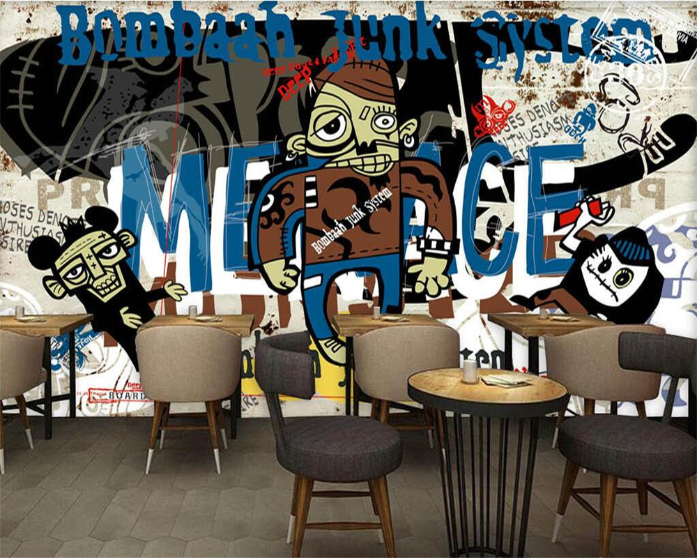 Beibehang Wallpaper Kustom Eropa Dan Amerika Serikat Tren Jalan Graffiti Bar Ktv Latar Belakang Dinding Dekorasi Rumah Wallpaper Di Wallpaper Dari Perbaikan