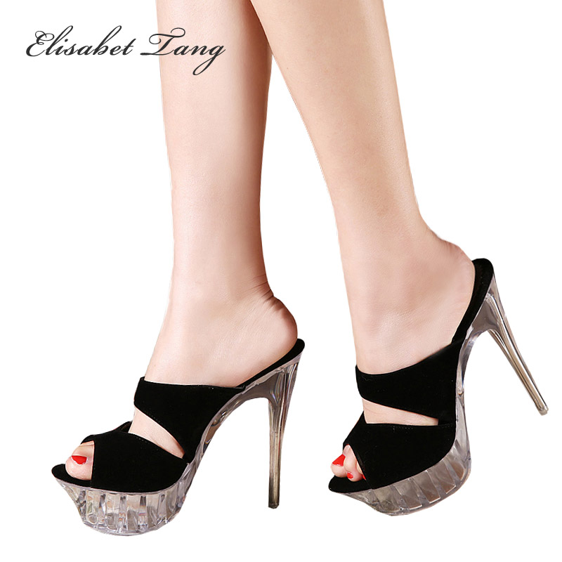 ФОТО Plus Size 35-43 Women Dress Shoes Sexy Thin Heels Sandals Clear Glass Platform Stripper Extreme High Heel Slippers