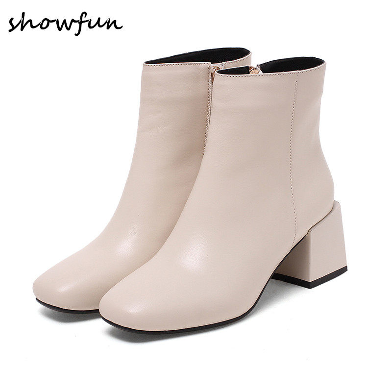 Womens genuine leather med heel comfortable autumn ankle boots brand designer elegant square toe short booties shoes for women