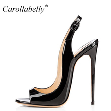 2018 New Summer Women's sandals Ankle Strap Women Sandals Open Toe Heels Ladies Sandals with Heels Black Big Size34-45