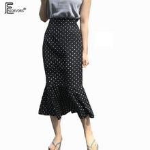 تصميم التنانير النسائية الصيف اليابان كوريا تصميم مزاجه مريحة Ruffled حورية البحر ليتل الأسود البولكا نقطة تنورة عالية الخصر