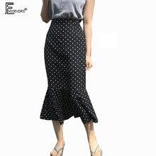 Design jupes femmes été japon corée Design tempérament confortable à volants sirène petite noir à pois jupe taille haute