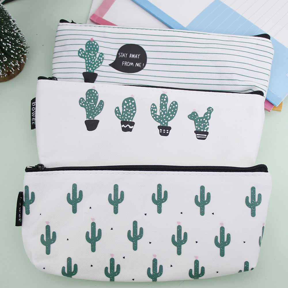 Kawaii Cactus Pencil Case Canvas School Supplies Kawaii Stationery Estuches School Cute kalem kutusu Pencilcase