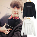 BTS Bangtan Boys KPOP Spring2016 Korean version men women black White Cotton Tee Hedging Letters printed Long sleeve Sweatshirts