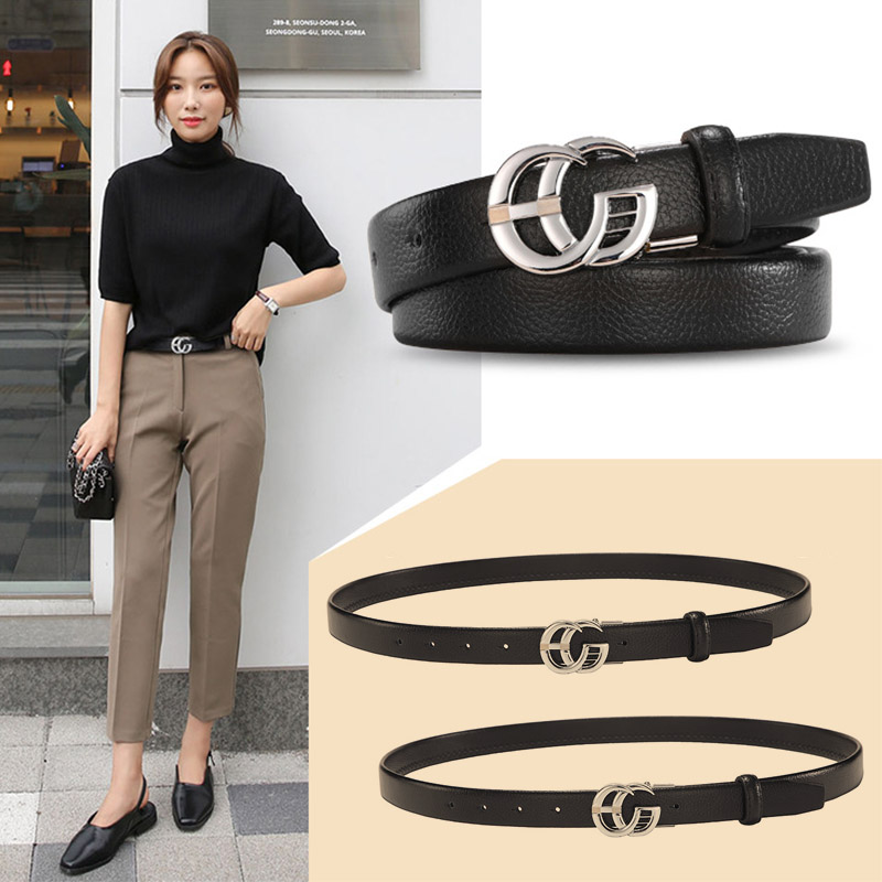 Classic GG   Belt   for Women Ultra Thin 2.3cm Elegant Waist   Belt   Genuine Leather Luxury Design Gold Double G Buckle Black   Belts
