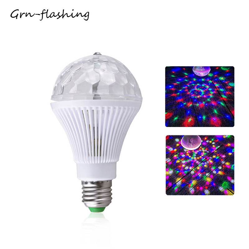 Auto Rotating RGB Crystal Stage Light 5W 3 LED Stage Lighting Effect Lamp Bulb For Party DJ Disco Home Decoration Laser Bulb